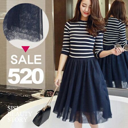 SISI【D6122】橫條紋長袖針織中長款修身拼接網紗長裙連身裙洋裝