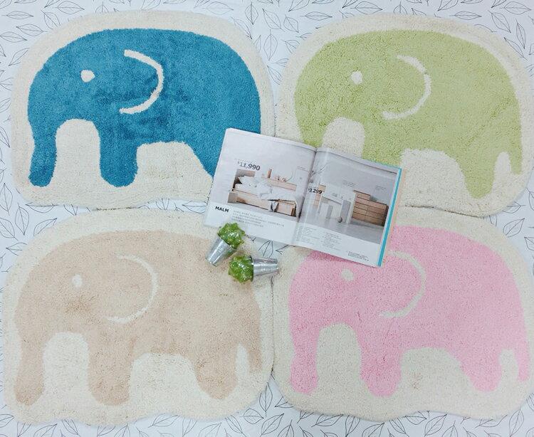吸水腳踏墊/印度棉踏墊/可愛造型踏墊/地毯腳踏墊/室內踏墊【綠居布屋】歐式大象