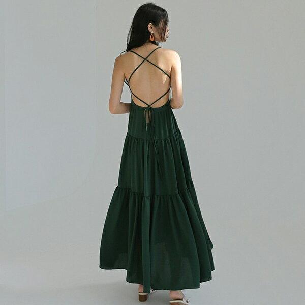 PS Mall 熱情傘擺露背連身裙 細帶拼接長版洋裝【T540】 2