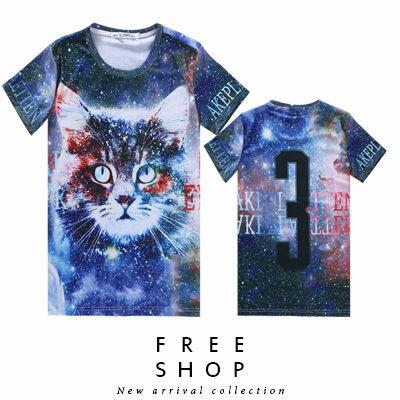 Free Shop~QFSLY2295~日韓美式潮流宇宙貓咪數字3文字 滿版圓領棉質短T短