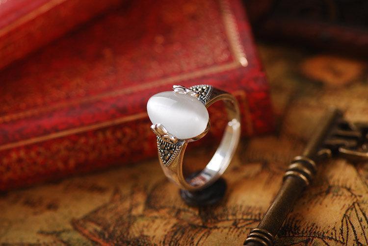 銀飾複古銀貓眼戒指女銀食指開口指環潮人