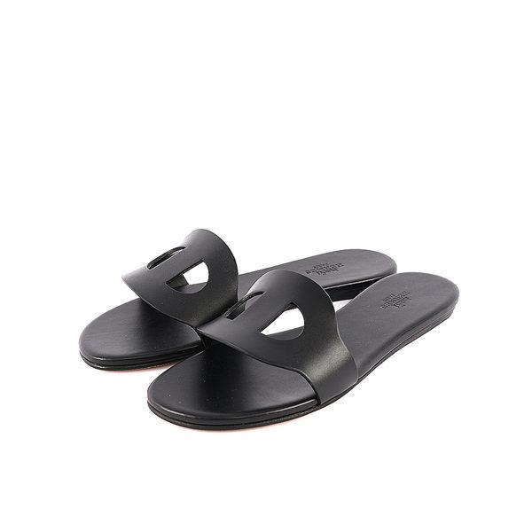 【HERMES】小牛皮猪鼻拖鞋(37号)(黑色) HE51030019