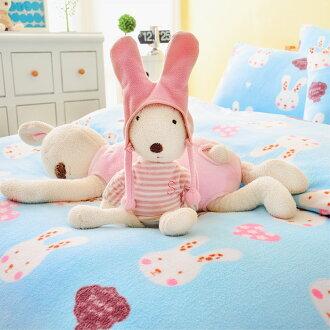 Pure One 超保暖搖粒絨 - 迷戀兔-藍 @ 雙人四件式床包被套組 @ 台灣製 @ SGS檢驗合格