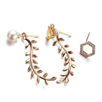 ~玫瑰金純銀耳環鑲鑽耳飾~ 柳葉 母親節生日情人節 女飾品73gt41~ ~~米蘭 ~