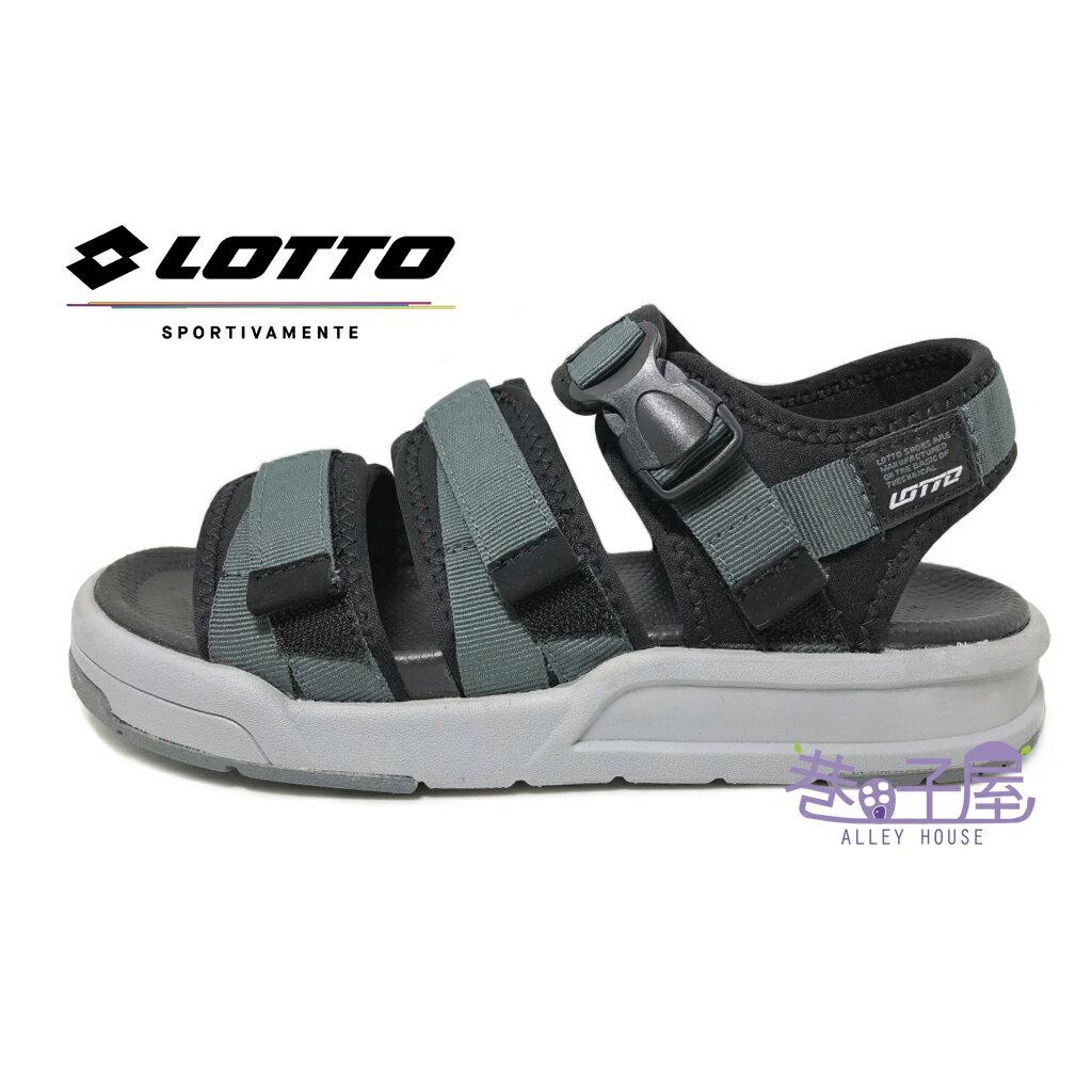 【巷子屋】義大利第一品牌-LOTTO樂得 STREET STYLE男款繃帶造型輕量織帶涼鞋 [5260] 灰 超值價$498