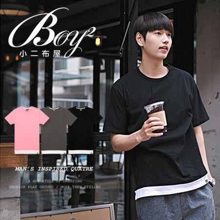 ☆BOY-2☆【KK6727】休閒素面假兩件男裝短袖T恤 0