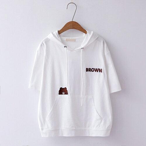 *ORead*簡約刺繡寬鬆棉質套頭連帽短袖T恤(4色F碼) 3