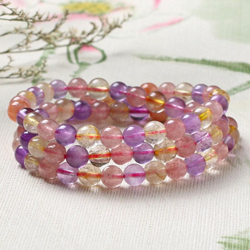 天然超七彩色多寶水晶補五行珠子多圈手鏈招財多種水晶三圈手串