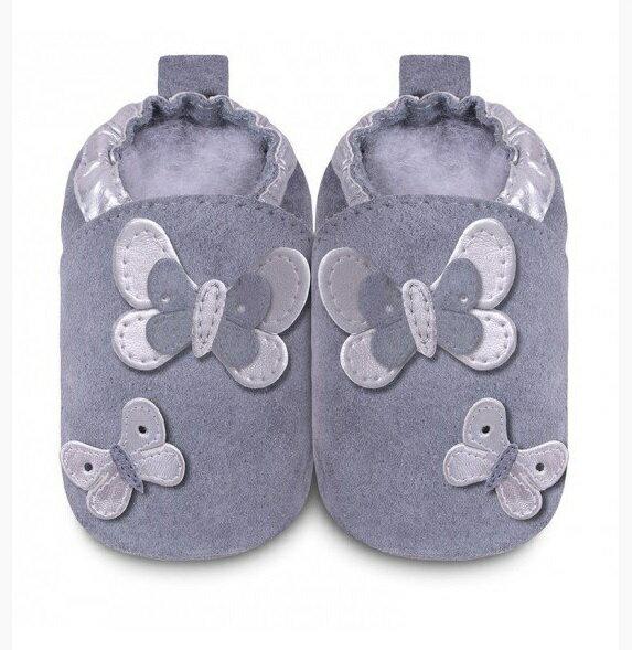 【HELLA 媽咪寶貝】英國 shooshoos 安全無毒真皮手工鞋/學步鞋/嬰兒鞋_紫灰銀色蝴蝶群(公司貨)