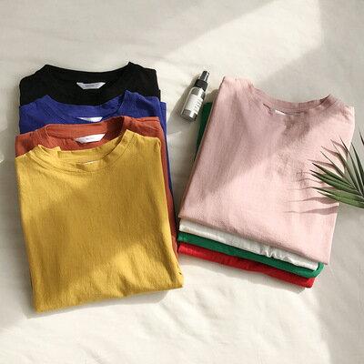 純色上衣圓領短袖T恤