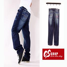 CS衣舖 造型口袋 刷白 中直筒 牛仔長褲 7231