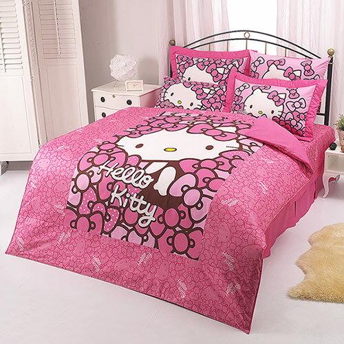 【享夢城堡】HELLO KITTY 我的Ribbon時尚系列-雙人純棉四件式床包涼被組(粉)