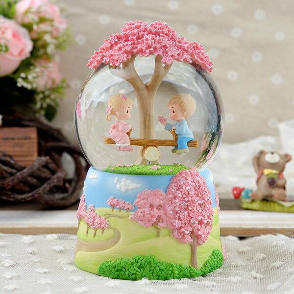 讚爾藝術:讚爾藝術JARLL櫻花戀水晶球音樂鈴情人節生日禮物居家擺飾