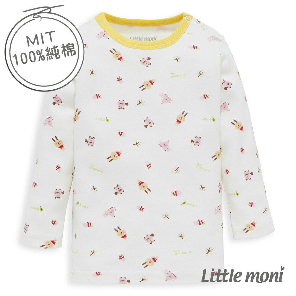 Little moni 純棉家居系列小兔子印圖幼兒長袖上衣-粉橙