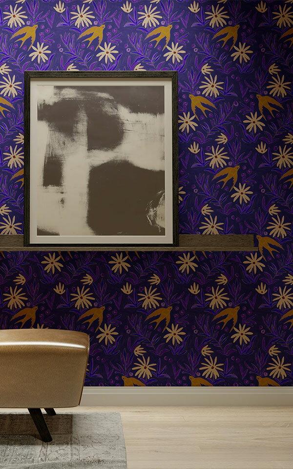 法國壁紙 燕子圖案  2色可選  Season Paper 壁紙 5