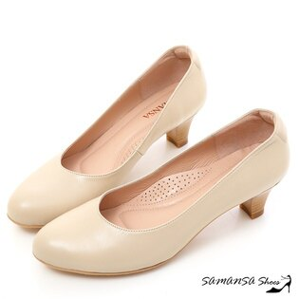 samansa莎曼莎手工鞋:現貨【MIT全真皮】職場2.0---綿羊皮素面靜音工作不分心上班鞋【SAMANSA】-#15102典雅膚