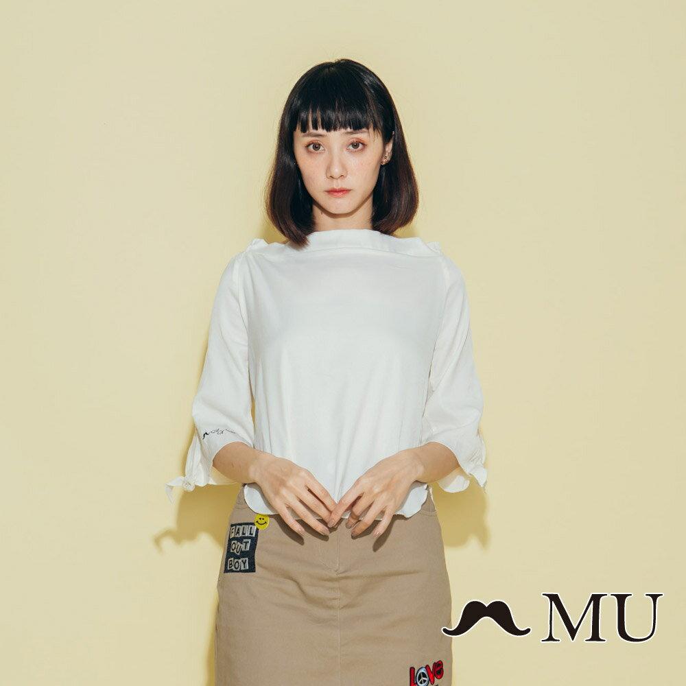 【MU】一字領袖子綁結上衣(2色)8323161 2