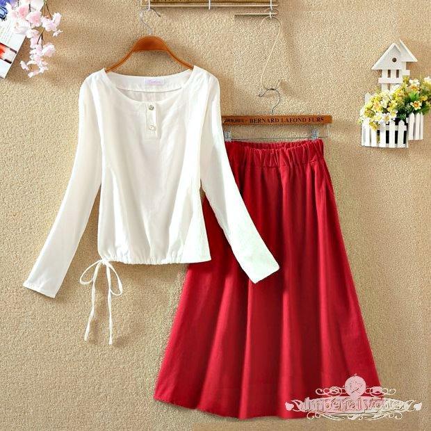 【兩件組】輕復古上衣+半身裙 (四色)