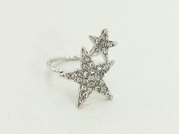 【櫻桃飾品】 五角水鑽星星造型開口戒指 超商取貨 貨到付款 批發【20421】
