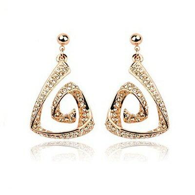 玫瑰金耳環925純銀鑲鑽耳飾~奢華精緻三角螺旋生日情人節 女飾品2色73gs99~ ~~米
