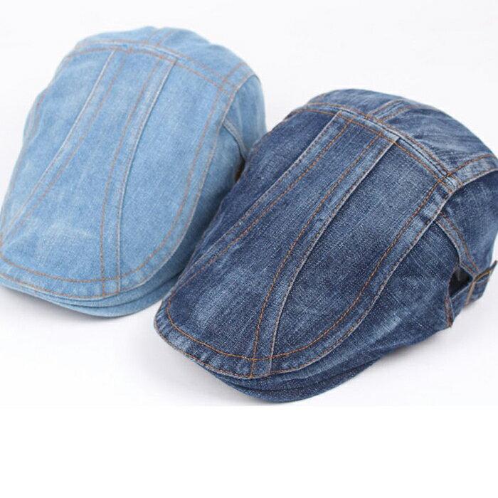 糖衣子輕鬆購【DZ0004】復古時尚休閒牛仔布貝雷帽鴨舌帽可調鬆緊