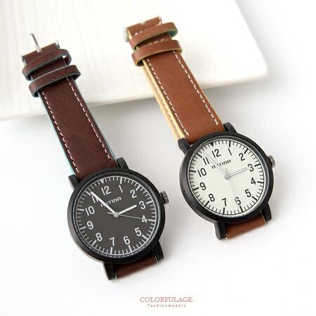 手錶 極簡數字面板霧面錶殼厚實皮革手錶腕錶 極推 錶款 柒彩年代~NE1848~單支售價