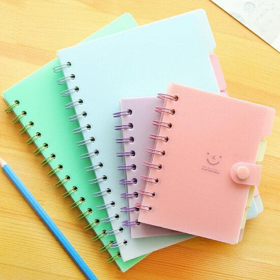 ♚MYCOLOR♚笑臉側翻線圈筆記本(小)學生設計辦公創意文具科目微笑記事本【P189】