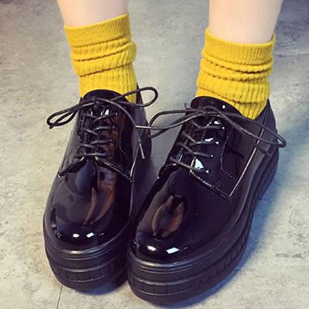 厚底鞋 日系漆皮綁帶圓頭厚底鞋【S1457】☆雙兒網☆ 5