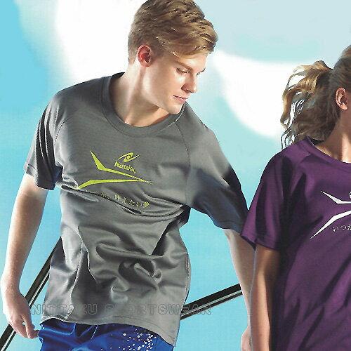 【日本名牌 Nittaku】男女運動休閒吸濕排汗短T恤-深灰#3761
