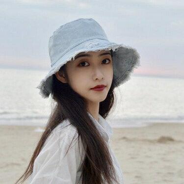 牛仔帽春夏季帽子女網紅牛仔破洞漁夫帽甜美可愛日系顯臉小防曬帽太陽帽 嬡孕哺