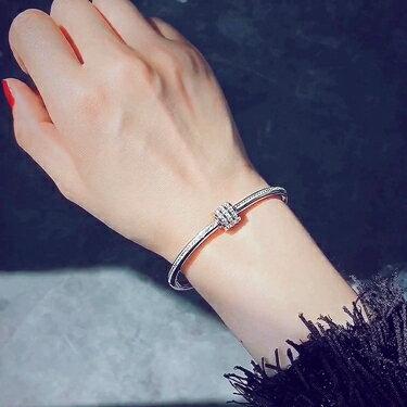手鐲滿鉆圓圈鈦鋼手鐲韓國ulzzang手鏈女韓版簡約夸張手鏈創意手環 嬡孕哺