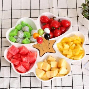 點心盤陶瓷果盤創意 現代 客廳水果拼盤 干果盤子分格盤家用零食盤        交換禮物 聖誕節禮物