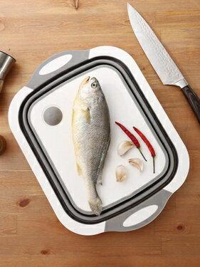 抖音神器折疊菜板塑料砧板多功能家用切菜板防霉瀝水籃洗菜盆一體  ATF  極有家 聖誕節禮物