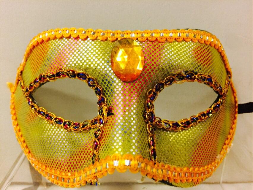 寶石亮片面具-黃,萬聖節服裝/派對用品/舞會道具/cosplay服裝/角色扮演,X射線【W060021】