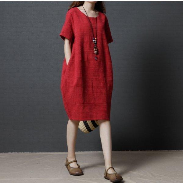 *漂亮小媽咪*簡約素雅純色棉麻短袖孕婦連身裙口袋孕婦裝寬鬆孕婦裙D1299