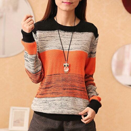 條紋撞色長袖圓領寬鬆衫針織衫 (2色,均碼) - ORead 自由風格