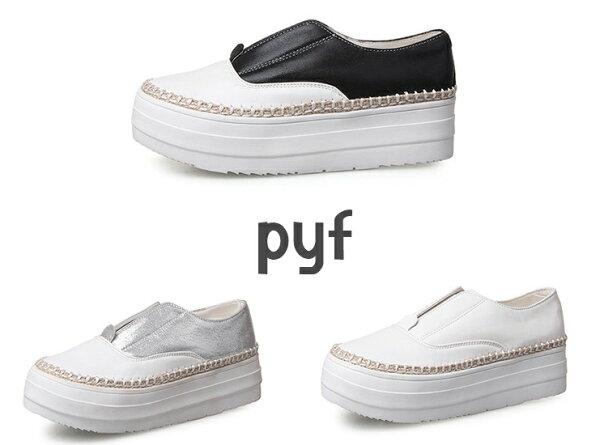 Pyf ♥ 熱賣款 厚底小白鞋 草編裝飾懶人鞋 休閒鉛筆鞋42 43大尺碼女鞋