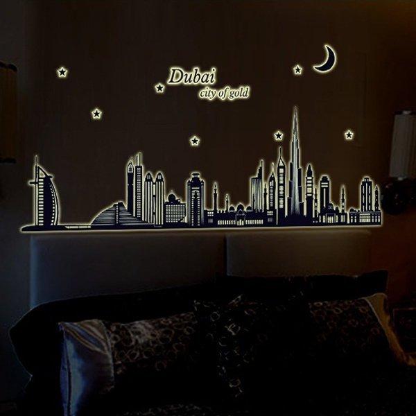 Loxin~ 可移動夜光壁貼 杜拜剪影~BF0856~DIY 壁貼 壁紙 牆貼 背景貼 夜