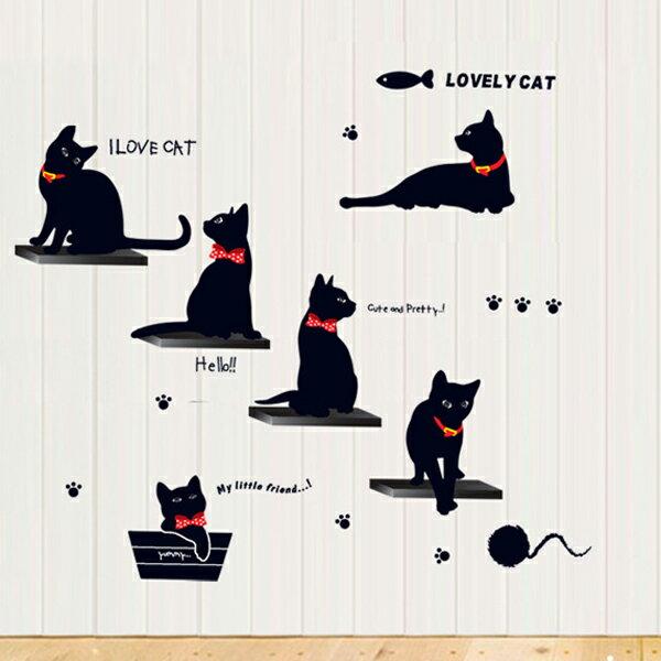 Loxin☆創意可移動壁貼 黑貓【BF0882】DIY組合壁貼/壁紙/牆貼/背景貼/裝飾佈置/室內設計裝潢/客廳臥室浴室