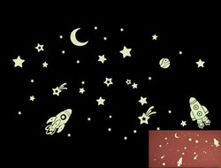Loxin 創意夜光壁貼 太空飛船【SF1127】DIY組合壁貼 壁紙 牆貼 背景貼 夜光貼 螢光貼