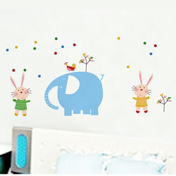 Loxin創意可移動壁貼 牆貼 兒童房佈置設計壁貼 大象小兔【YP1827】