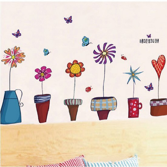 Loxin【YV2975】DIY時尚裝飾組合可移動創意壁貼 牆貼 背景貼 彩色 花朵 愛心 蝴蝶 盆栽