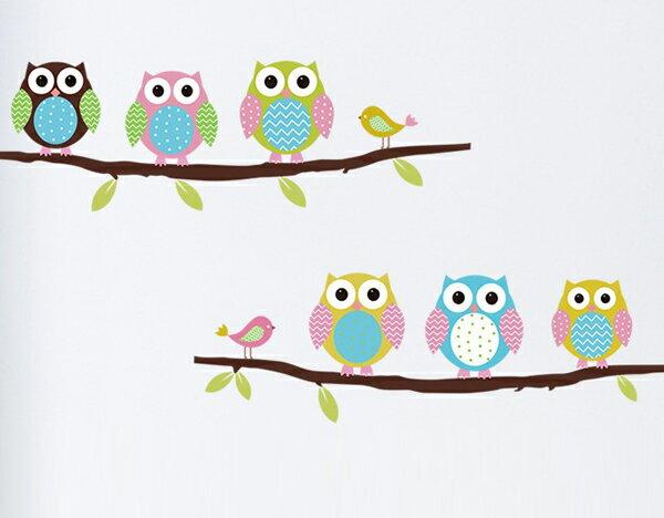 Loxin【YV3491】高品質DIY創意牆貼 背景貼 磁磚貼 壁貼 樹梢 小鳥 可愛貓頭鷹 406