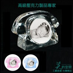 【美的空間】透明壓克力 多色選~立體電話造型迷你大頭貼相框展示牌#1062 創意收藏寶寶照