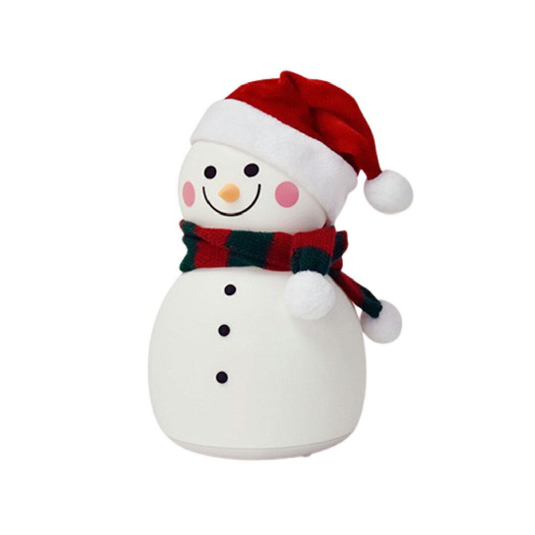【聖誕雪人】雪人造型七彩音樂拍拍燈|小夜燈 音樂夜燈 交換禮物 聖誕節 USB小夜燈 拍拍燈