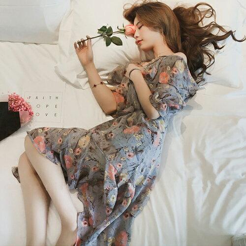 洋裝  甜美碎花一字領雪紡連身裙 【28085】 Blue Paris 1