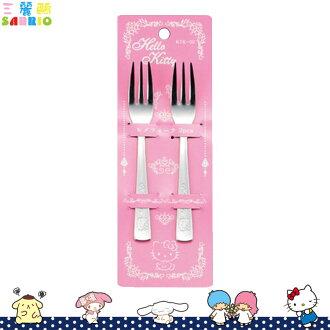 日本製 凱蒂貓 Hello Kitty不鏽鋼叉子 2入 餐具 日本進口正版 618415