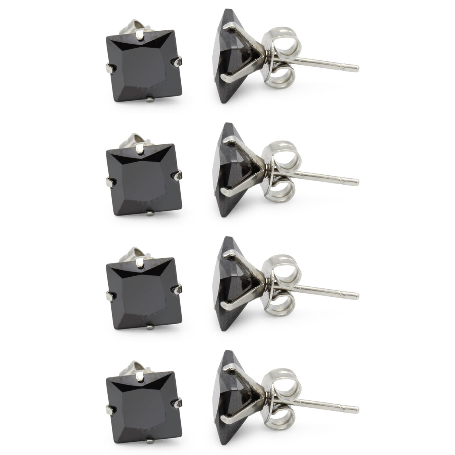 43af524b9b7b8 Black Cubic Zirconia Unisex Stud Earrings Stainless Steel Jewelry  Collection Square Studs 3-10 mm 4 Pack Set