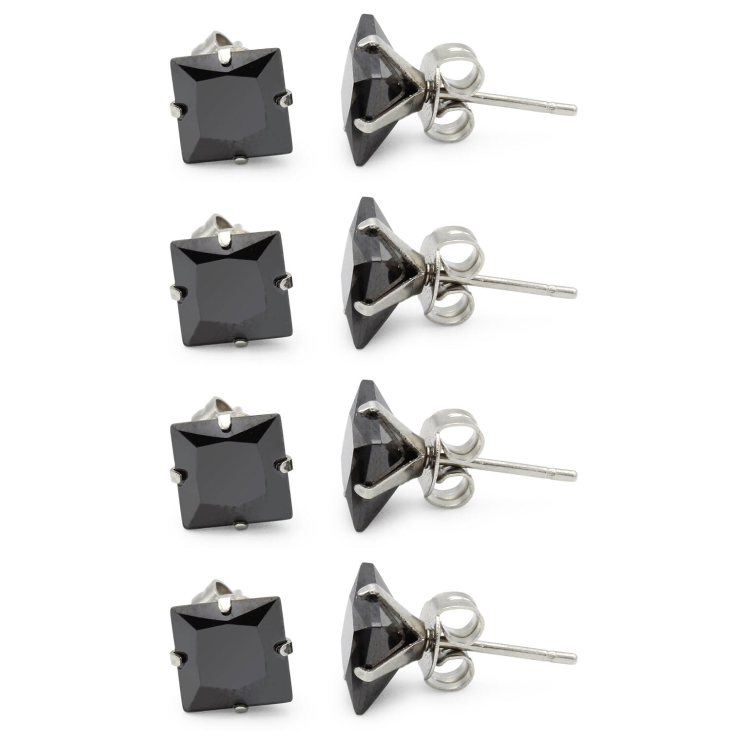 0eefb90703f4 Black Cubic Zirconia Unisex Stud Earrings Stainless Steel Jewelry  Collection Square Studs 3-10 mm