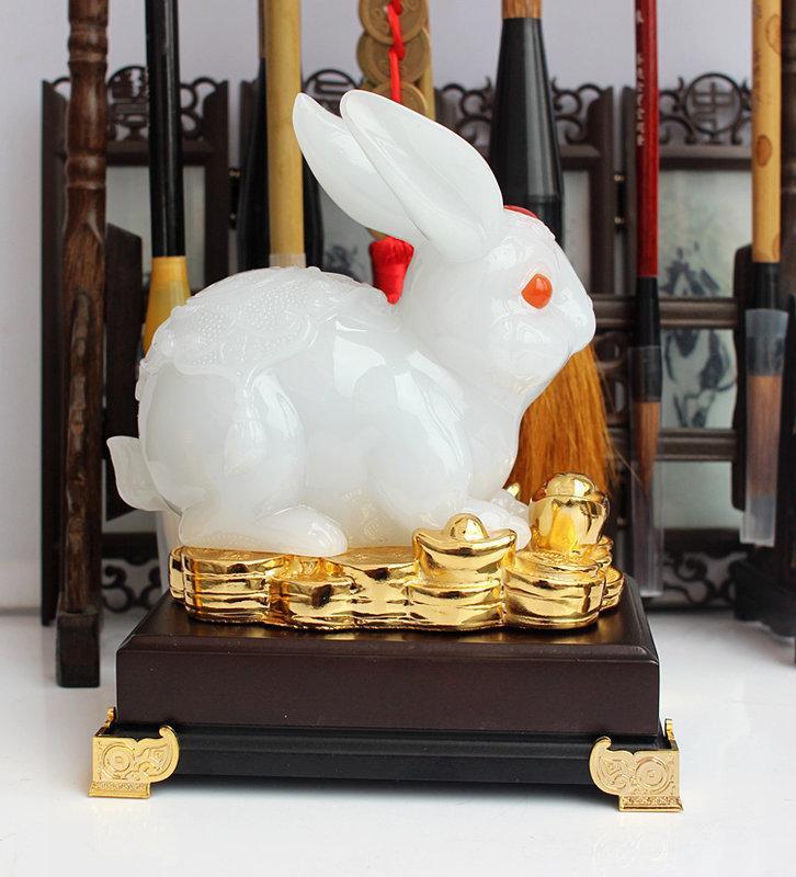 玉兔擺件 12生肖兔子擺設可愛家居裝飾時尚工藝女友生日禮品